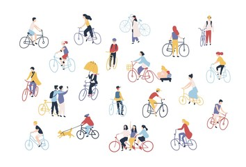 Wall Mural - Collection of people riding bikes on city street. Bundle of men, women and children on bicycles isolated on white background. Outdoor activity set. Colorful vector illustration in cartoon style.