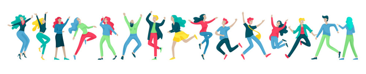 Jumping character in various poses. Group of young joyful laughing people jumping with raised hands. Happy positive young men and women rejoicing together, happiness, freedom, motion people concept. Wall mural