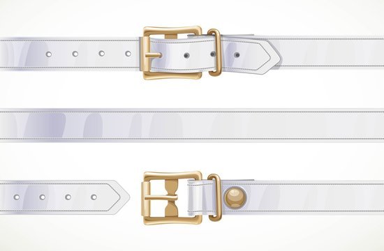 Thin white leather belt buttoned, unbuttoned and seamless middle part isolated on white background