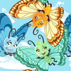 Seamless patterm with cute little Butterfly on a blue sky background