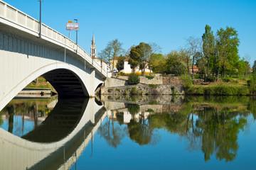 The tranquil Lot River at St-Sylvestre-sur-Lot, Lot-et-Garonne,