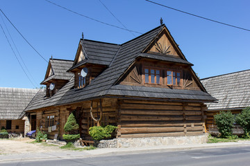 Chocholow, Poland: 30 July 2017 - Traditional wooden houses in village Chocholow, Tatra Mountain region, Poland,