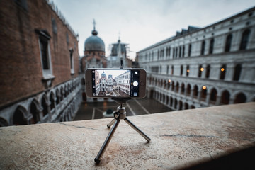 the smartphone on the tripod