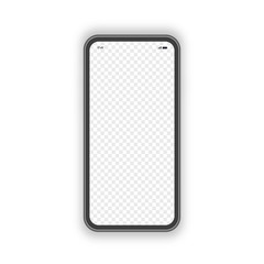 Realistic smartphone with blank screen and transparent background isolated on background. Mock up mobile. Vector 10 eps