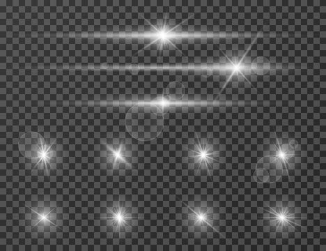 Light flare. Optical lens glowing flashlight effect. Gleaming camera flash. Realistic sparkles vector set. Star flash and shine bright illustration