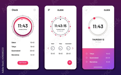 Clock app  Digital clock alarm phone application  Cellphone watch
