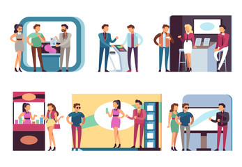 People at trade expo. Men and women at product demonstration stands and event booths on exhibition. Vector set of demonstration exhibition advertising, desk promo marketing illustration