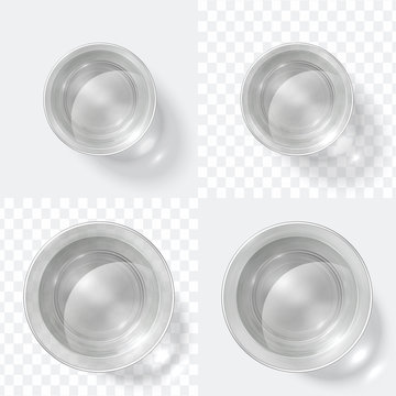 Top view glass. Clear shot of vodka or water, glass cup isolated on white and transparent background. Kitchen glassware vector set. Illustration of top view glass with water, clean realistic drink