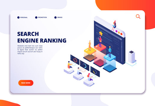 Search engine rank isometric landing page. Seo marketing and analytics, online ranking result. 4ir 3d vector concept. Illustration of seo optimization, isometric of web internet