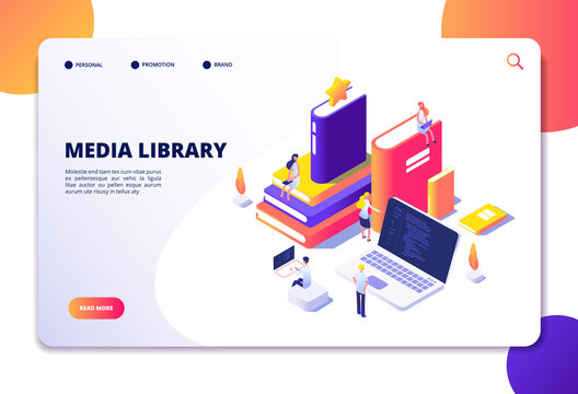 Online library isometric concept. People in bibliotheque, books laptops. Reading technology electronic library vector landing page. Library media isometric, book online illustration
