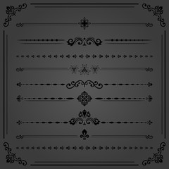 Vintage set of vector decorative elements. Horizontal separators in the frame. Collection of different ornaments. Classic patterns. Set of vintage black patterns
