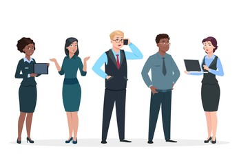 Business people. Office team cartoon characters. Group of business men women, standing persons. Teamwork colleagues vector concept. Illustration of woman and man office team