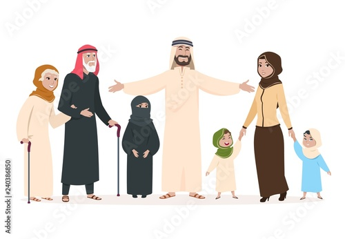 Arab family  Muslim mother and father, happy kids and