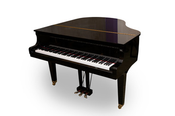Piano isolated on white background. This has clipping path.