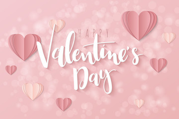 Vector illustration of valentine's day greetings card template with hand lettering label - happy valentine's day - with hanging paper origami heart shapes