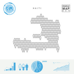 Haiti People Icon Map. Stylized Vector Silhouette of Haiti. Population Growth and Aging Infographics