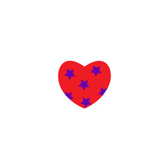 Vector illustration. Heart color icon with ornament on white background. Heart with asterisks.