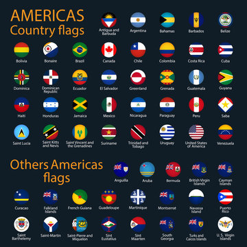 Flags of all countries of the American continents.
