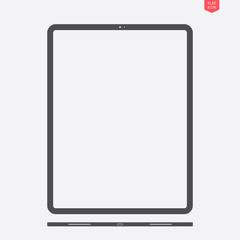 tablet icon in the flat style with a view from below on grey background. stock vector illustration eps10