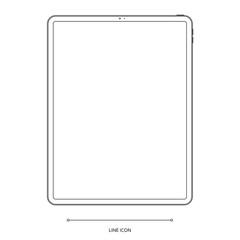 tablet outline icon on white background. stock vector illustration eps10