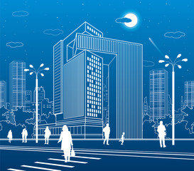 Business Center, city architecture. People walking at town street. Road crosswalk. Urban life. Vector design art