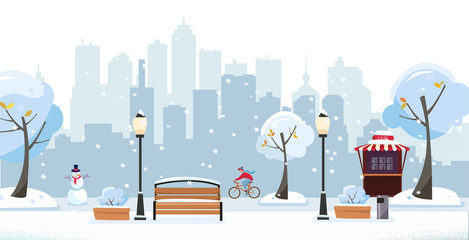 Winter snowy park. Public park in the city with Street Cafe against high-rise buildings silhouette. Landscape with cyclist, blooming trees, lanterns, wood benches. Flat cartoon vector illustration