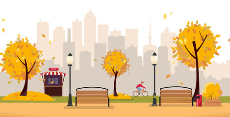 Aumumn leaf fall park. Public park in the city with Street Cafe against high-rise buildings silhouette. Landscape with cyclist, blooming trees, lanterns, wood benches. Flat cartoon vector illustration