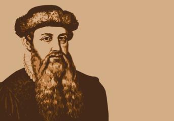 Portrait d'allemand Gutenberg, célèbre inventeur de l'imprimerie au 15ème siècle