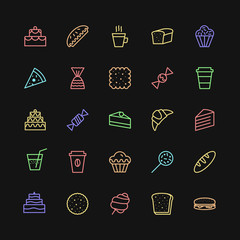 bakery icons set simple line color style isolated on background with cake and dessert for logo, confectionery store, bakery shop, cafe, restaurant, sweet pattern, packaging paper. vector 10 eps