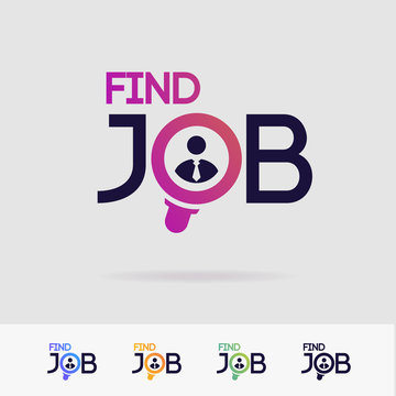 Find job vector symbol set isolated on white background for search agency, hiring, headhunter website, recruitment, employment agency, hr, recruiting concept. Search man icon. Employee sign 10 eps