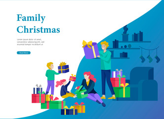 Landing page template greeting card winter Holidays. Merry Christmas and Happy New Year Website. People Characters family give present, unpack gift on background of interior living room