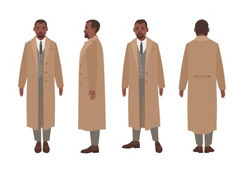African American man dressed in elegant suit and trench coat. Male cartoon character in stylish outerwear isolated on white background. Front, side and back views. Flat cartoon vector illustration.