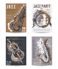 Jazz music party with musical instruments. Saxophone, guitar, cello, drum kit with grunge watercolor splashes. Design template for invitation, card, poster, placard and flyer. Vector illustration