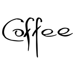 Lettering coffee icon. Calligraphy inscription coffee. Handwritten font coffee.