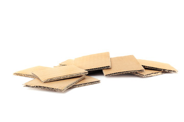 Brown cardboard on white background. Recyclable material