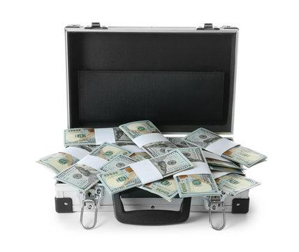 Open hard case full of money on white background