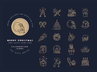 Vector icon and logo celebration Merry Christmas and Happy New Year . Editable outline stroke size. Line flat contour, thin and linear design. Simple icons. Concept illustration. Sign, symbol, element