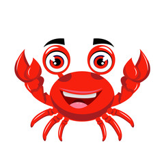 crab cartoon or crab Clipart cartoon  isolated on white background illustration