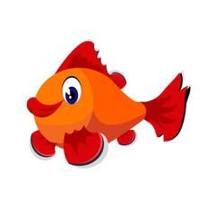 fish cartoon or fish Clipart cartoon  isolated on white background illustration