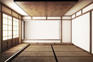 Japanese display Room and tatami mat flooring .3D Render