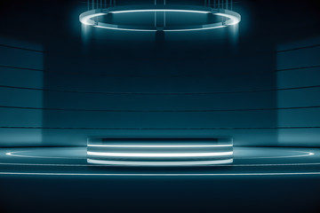 Futuristic round pedestal or platform with Chandelier. Blank product poduim or stand. Future empty stage with glow light. Future background for design. 3d rendering