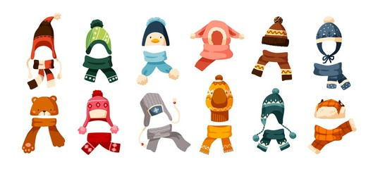 Collection of children s winter knit hats and scarves of various types isolated on white background. Bundle of headgear or head accessories for kids. Vector illustration in flat cartoon style. - fototapety na wymiar