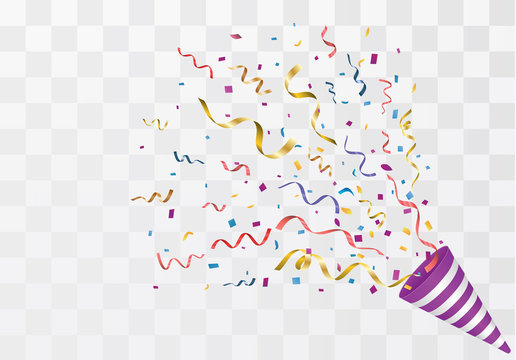 Vector confetti. Festive illustration. Party popper isolated on white background.