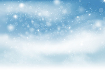 Winter landscape background with falling snow, spruce forest silhouette