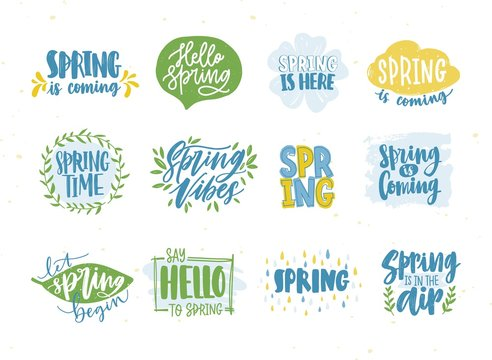 Bundle of spring or springtime phrases or slogans handwritten with calligraphic fonts and decorated by natural seasonal elements. Collection of hand drawn lettering. Colorful vector illustration.