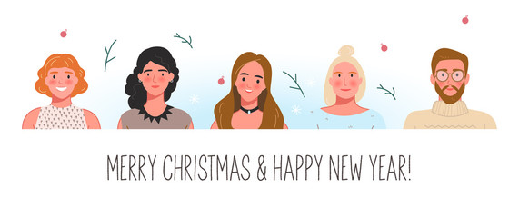 Happy people smiling profile faces. Flat vector illustration, set of avatars. Modern portrait of group of friends or family celebrating New Year and Christmas