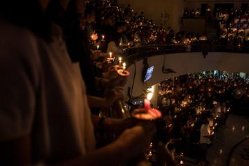 Christians attend a mass on Christmas Eve at GKI Maulana Yusuf Church in Bandung, West Java province