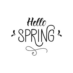 Hello Spring. lettering. design for holiday greeting card and invitation of seasonal spring holiday.