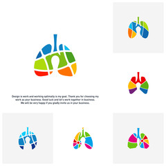 Set of Lungs with Colorful logo vector concept, Health lungs logo designs template, template - Vector