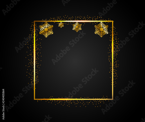 Golden Rectangular Frame With Falling Shiny Dust And Golden